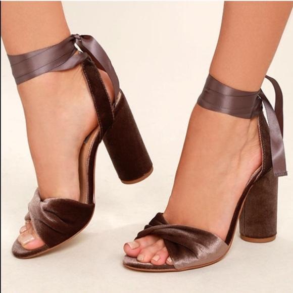 3cc54798891 Steve Madden Velvet Bow Wrap Heels